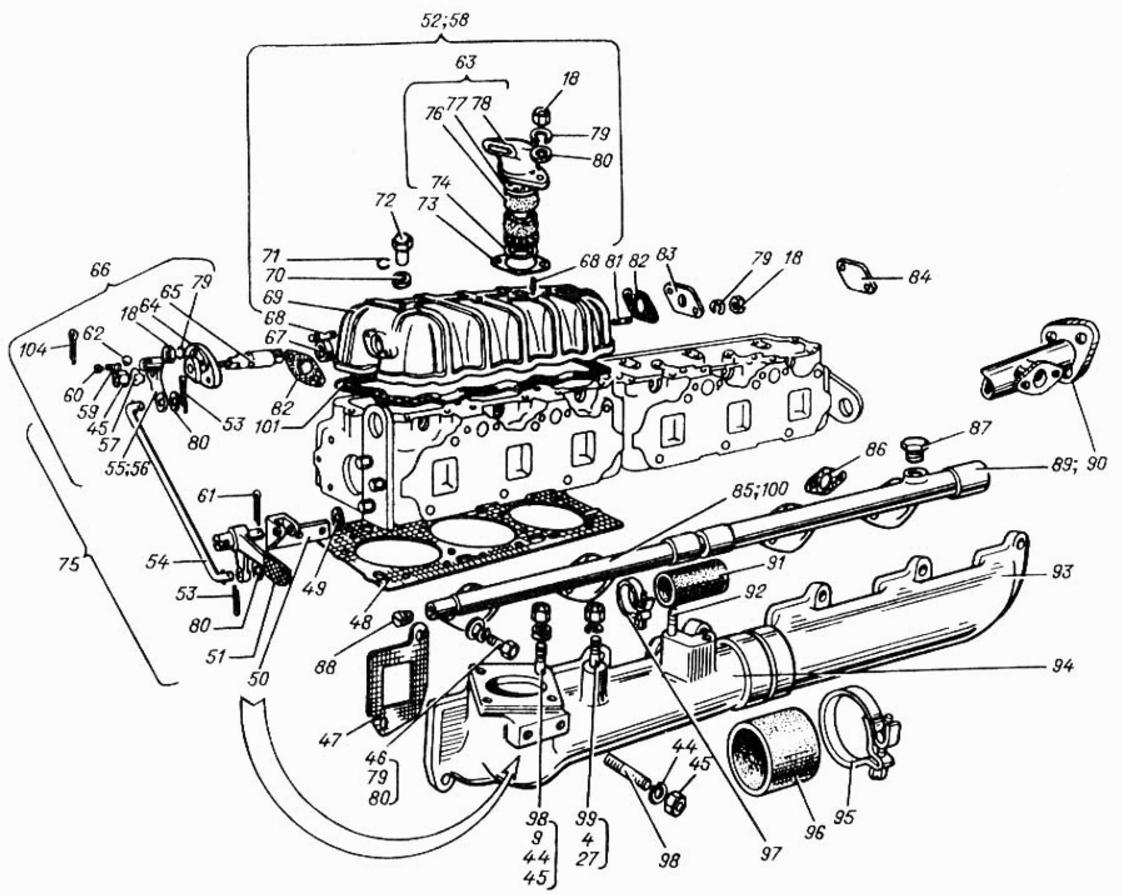 Устройство головки блока цилиндров А-01 (Т-4А, ТТ-4М, ТО-18, ТО-28)