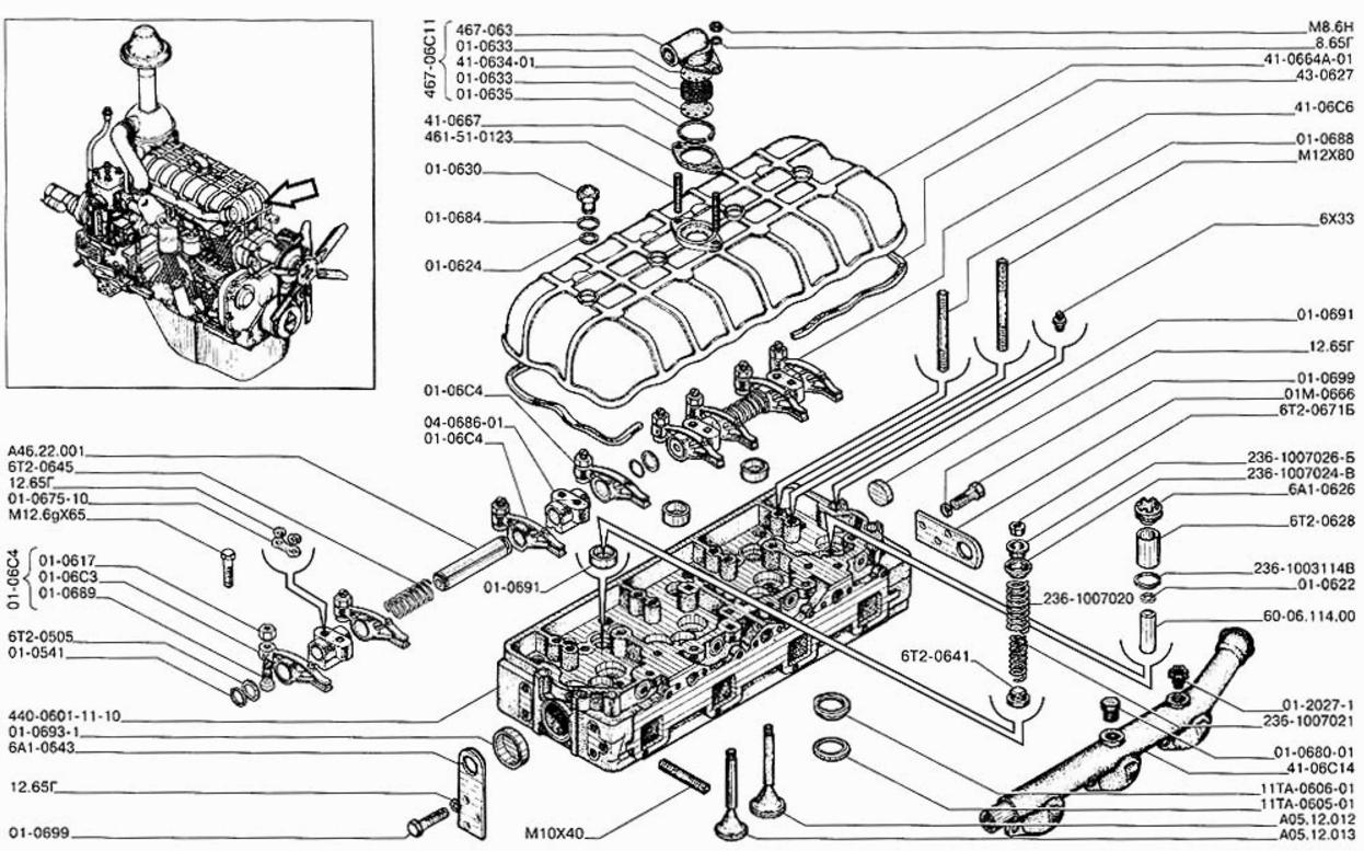 Устройство головки блока цилиндров А-41 (ДТ-75)