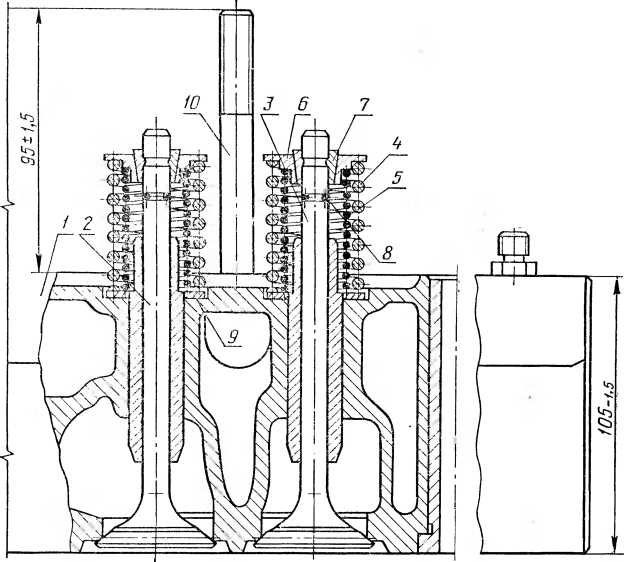 Устройство головки блока цилиндров СМД-14 (ДТ-75)