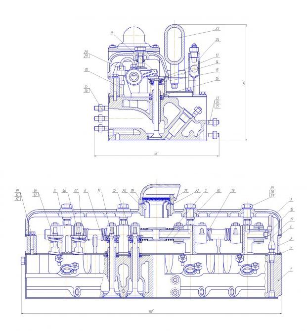 Устройство головки блока цилиндров СМД-23 (Дон-1200)